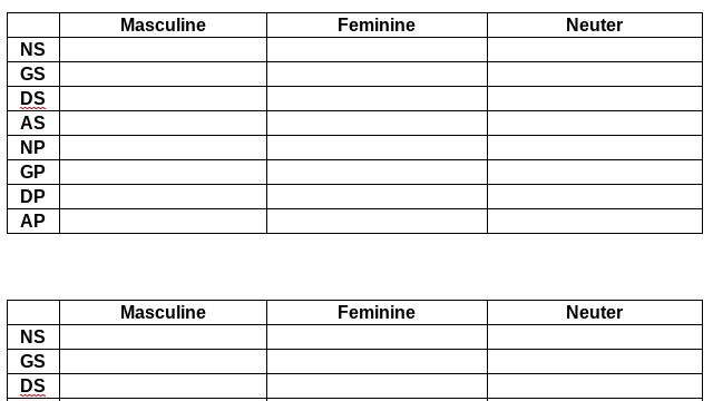 Peek of Blank Masculine-Feminine-Neuter Greek Practice chart